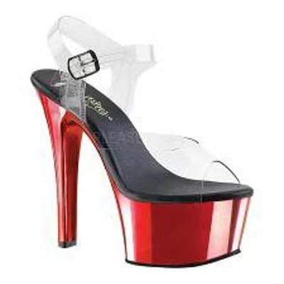 Pleaser レディースサンダル Pleaser Aspire 608 Ankle-Strap Sandal Clear PVC/R