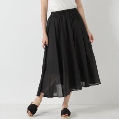 コットンボイルのフレアスカート ブラック M L LL