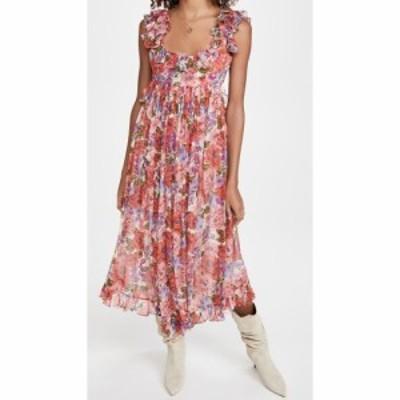 ジマーマン Zimmermann レディース ワンピース ミドル丈 ワンピース・ドレス Poppy Frill Edge Midi Dress Crimson Floral