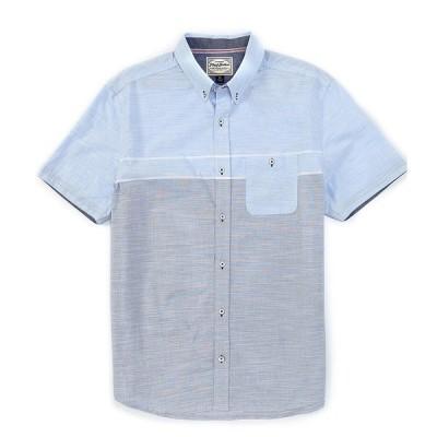 フラッグ アンド アンセム メンズ シャツ トップス Northwood Short-Sleeve Slub Shirt Grey/Blue