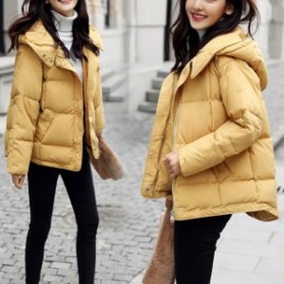 トレンド 冬物 売れ筋 中綿 ダウン ジャケット コート アウター ショート丈 比翼 フード 定番 シンプル 防寒 hf0076