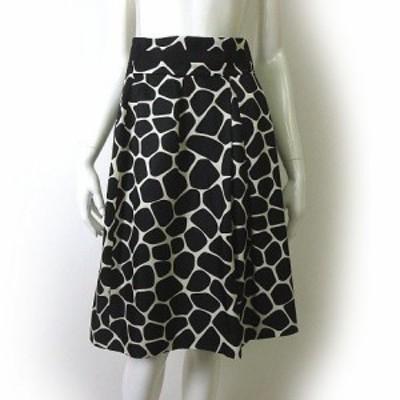 【中古】ポールカ PAULE KA スカート ジラフ柄 シルク 混 絹 フレア 38 M 黒 ブラック 白 ホワイト 国内正規品