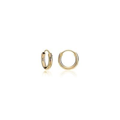 Hoops & Loopsスターリングシルバー2?mmダイヤモンドカット無限フープイヤリング、10?mm、12?mm、15?mm[並行輸入品]