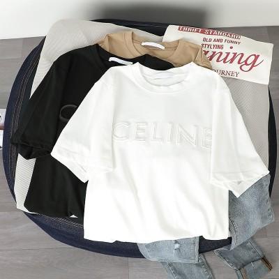 コットン半袖Tシャツの女性2020夏の韓国のエンボス加工の女性のルーズイン服31