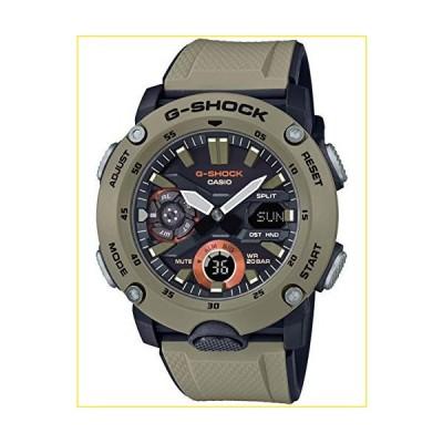 Casio メンズGショックカーボンコアガードベージュ樹脂バンドブラックアナログデジタルダイヤルクォーツ時計