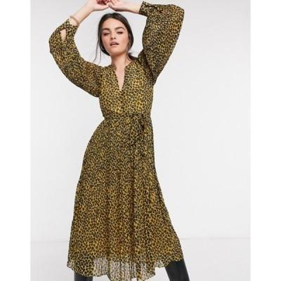 トラフィックピーポー レディース ワンピース トップス Traffic People waist tie midi dress in leopard print