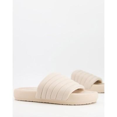 プル&ベアー Pull&Bear レディース サンダル・ミュール チャンキーヒール シューズ・靴 Chunky Slider In Ecru グレー