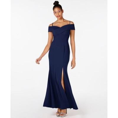 ナイトウェイ Nightway レディース パーティードレス ワンピース・ドレス Cold Shoulder Gown Navy