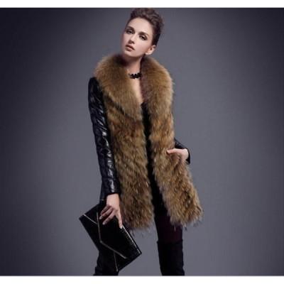 毛皮コートファーコートレディースロッグコートフォクスフェイクファー上着暖かい秋冬防寒高級素材レディースファッションおしゃれ