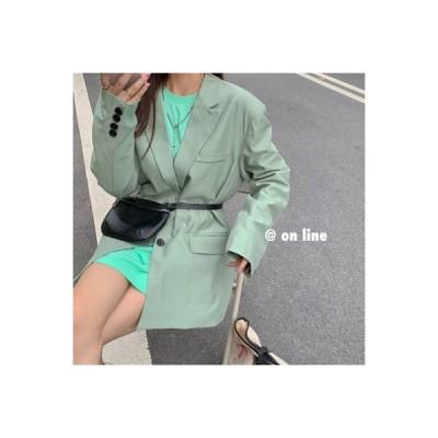 【送料無料】秋服 韓国風 ブレザー 長袖 ルース ミディ丈 スーツ 単一色 ベー | 364331_A63560-5992207