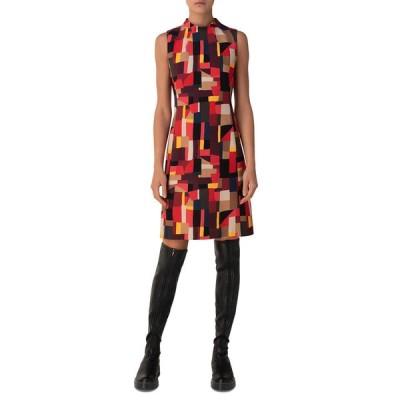 アクリス レディース ワンピース トップス Funnel-Neck Geometric Sheath Dress