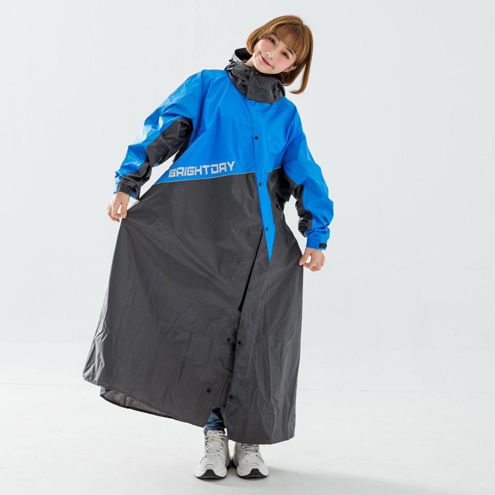 BrightDay X武士斜開連身式雨衣 黑藍 雨衣 連身雨衣 一件式 《比帽王》