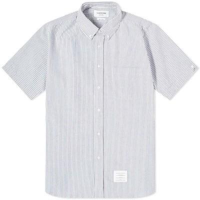 トム ブラウン Thom Browne メンズ 半袖シャツ トップス Button Down Seersucker Short Sleeve Shirt Blue