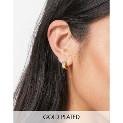 エイソス レディース ピアス&イヤリング アクセサリー ASOS DESIGN sterling silver with gold plate hoop earrings in double row design Multi
