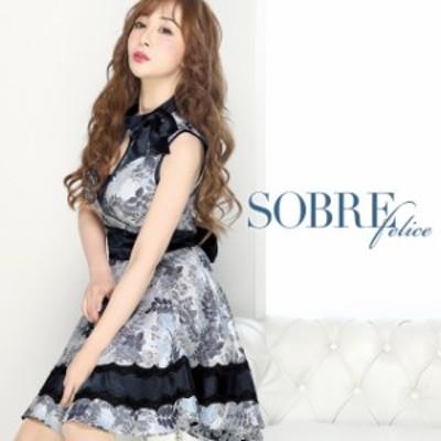 キャバドレス キャバ ドレス 大きいサイズ ソブレ ミニ ワンピ 196100 ノースリーブリボンフレアワンピース