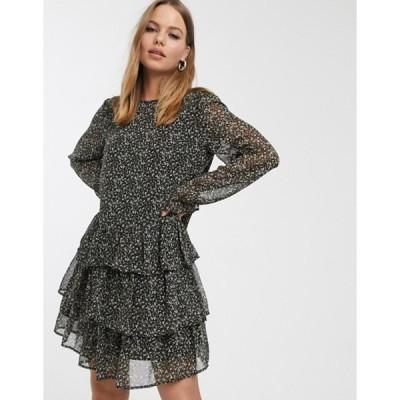 ヴェロモーダ レディース ワンピース トップス Vero Moda ruffle smock mini dress in ditsy smudge print