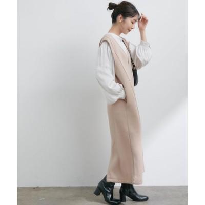 【WEB限定FSサイズ】【モイストスフレタッチ】ダンボールニット深Vピンタックジャンパースカート