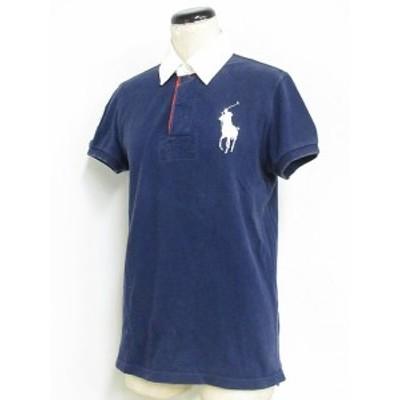 【中古】ラルフローレン ラガーシャツ ポロシャツ 半袖 鹿の子 ビッグポニー 刺繍 ワッペン コットン ネイビー L ※01