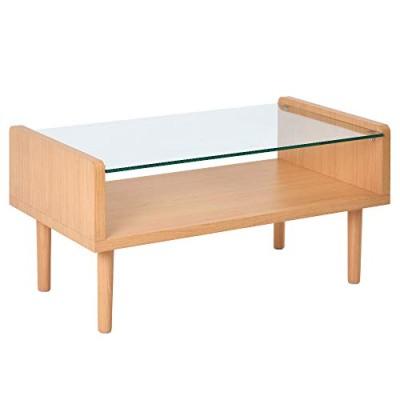 オーエスジェイ(OSJ) ローテーブル ディスプレイ 強化ガラス 北欧スタイル ナチュラル 80X43X40cmナチュラル