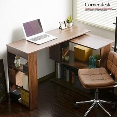 デスク パソコンデスク L字型 伸縮 折りたたみ 省スペース 棚付き 木製 コーナーデスク 書斎机 コンパクト 机 おしゃれ スライド アンテ