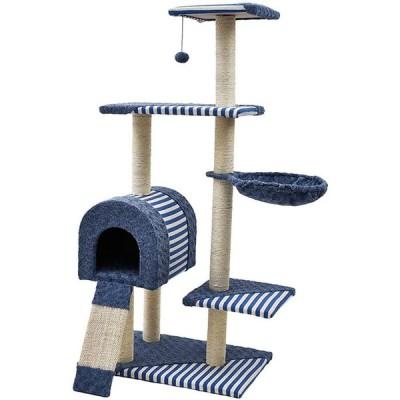 (エスライフ)S-Lifeeling キャットタワー 縞柄 猫タワー ハンモック 据え置き スリム 階段付き 爪とぎ 麻紐 猫ハウス 隠れ家 おもちゃ