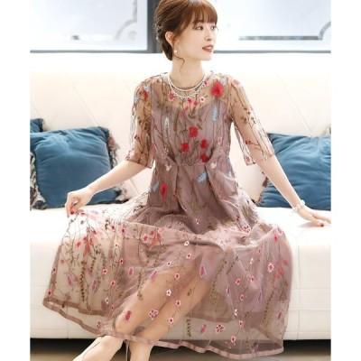ドレス シアーワンピースドレス七分袖&ミニ丈結婚式フォーマル