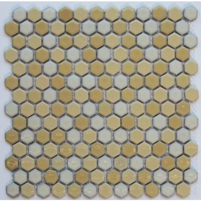 ヘキサゴン(六角)モザイク 600薄黄ミックス