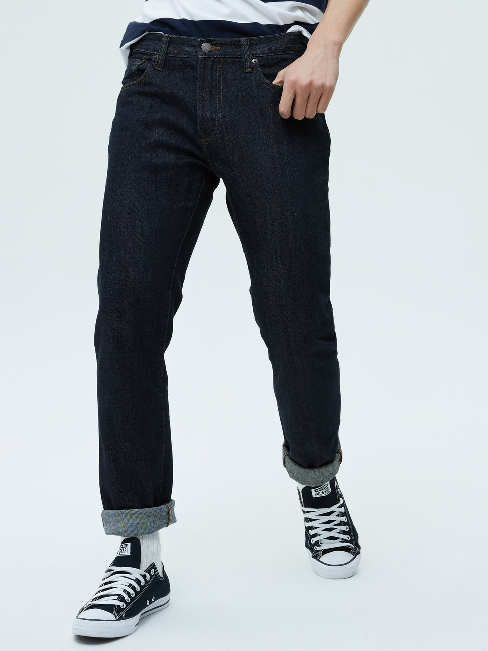 男裝 基本款時尚舒適純棉直筒牛仔褲