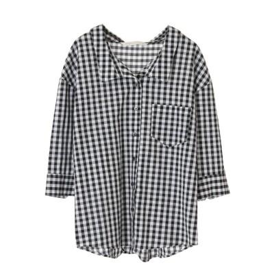 【トランテアン ソン ドゥ モード】 麻混抜き衿シャツ レディース ホワイト×ブラック 36(S) 31 Sons de mode