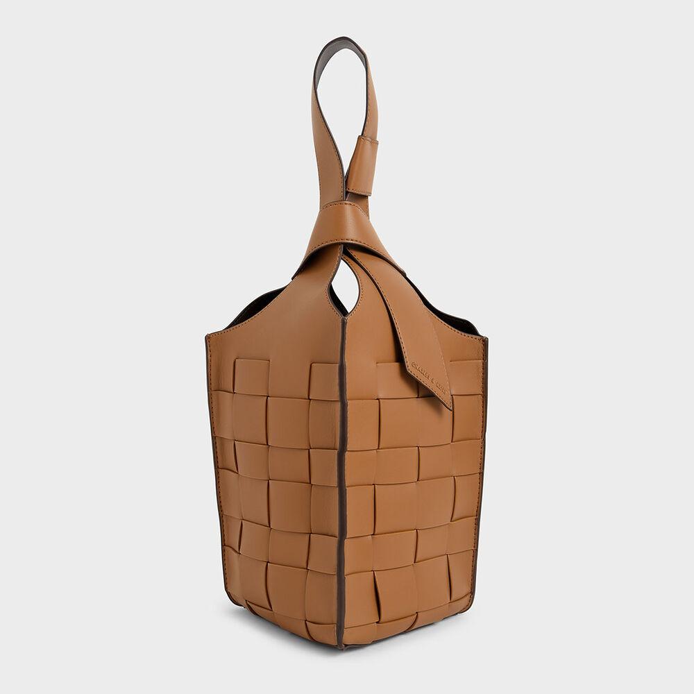 編織方格水桶包