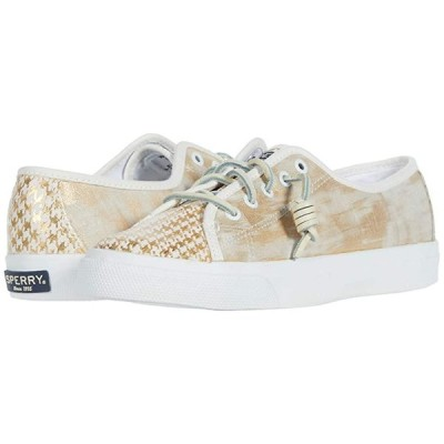 Sperry Seacoast Houndstooth レディース スニーカー White/Gold