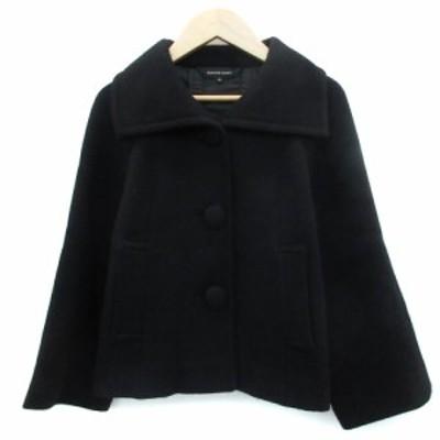 【中古】クイーンズコート QUEENS COURT コート ステンカラー ショート丈 ウール 2 ブラック 黒 /YM3 レディース