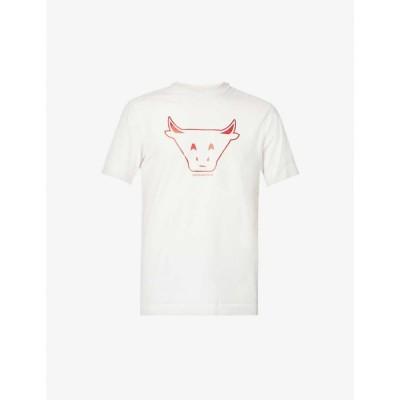 アルマーニ EMPORIO ARMANI メンズ Tシャツ トップス Chinese New Year ox-print stretch-cotton T-shirt WHITE