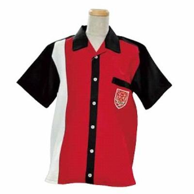 アメリカン ボウリング サービス(ABS) オープンシャツ 前身切り替え レッド/ブラック A-999-2 【Pro-ama ボウリングウェア メンズ レデ