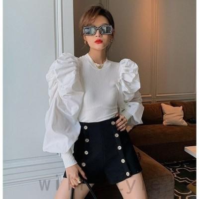 ボリューム袖Tシャツ韓国オルチャンストリート衣装長袖リブバルーンカットソー原宿系ブラウストップス
