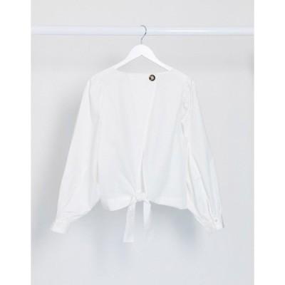 ヴィラ レディース シャツ トップス Vila poplin blouse with tie front and balloon sleeves in white White