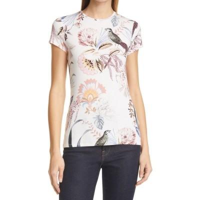 テッドベーカー TED BAKER LONDON レディース Tシャツ トップス Jerikko Papyrus Print Fitted T-Shirt White