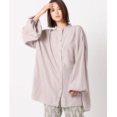 (UNRELISH/アンレリッシュ)シャイニー透けシャツ/レディース グレージュ