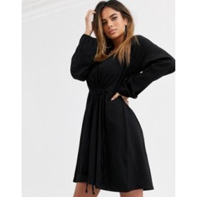 エイソス レディース ワンピース トップス ASOS DESIGN Long sleeve smock dress with drawstring waist Black