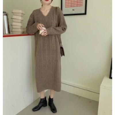 2色 ニットワンピース ロング Vネック 長袖 ゆったり カジュアル 大人可愛い 秋冬 韓国 オルチャン ファッション