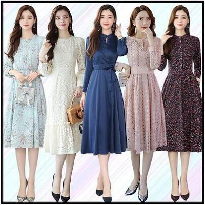 新作長袖 ワンピース高品質ワンピース/韓国ファッションワンピース/体型カバースカート上品花柄ワンピース レースワンピース 大人気スカート