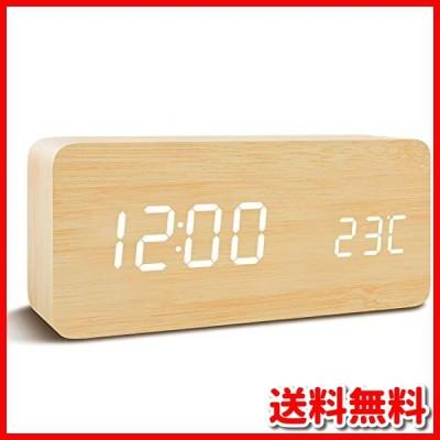 Qansi 目覚まし時計 大音量 LEDデジタル時計 木目調 おしゃれ 置き時計 カレンダー付き 卓上 アラーム 温度表示