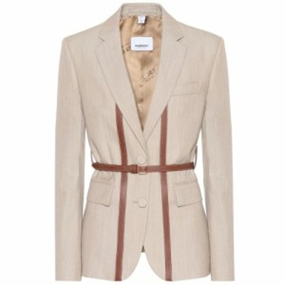 バーバリー Burberry レディース スーツ・ジャケット アウター Leather-trimmed wool blazer Camel Melange