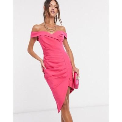 ラビッシュアリス レディース ワンピース トップス Lavish Alice bardot ruched midi dress in pink
