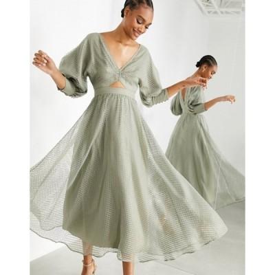 エイソス レディース ワンピース トップス ASOS EDITION blouson sleeve midi dress in organza check in khaki