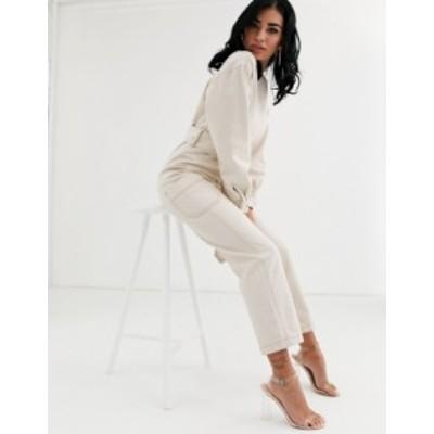 エイソス レディース ワンピース トップス ASOS DESIGN denim belted jumpsuit in ivory with contrast top stitch Cream