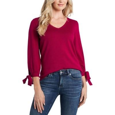 シーシー CeCe レディース ニット・セーター Vネック トップス Tie-Sleeve V-Neck Sweater Plumeria