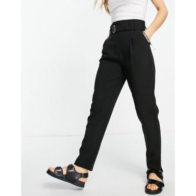 ピンキー Pimkie レディース ボトムス・パンツ Belted Tailored Trouser In Black ブラック