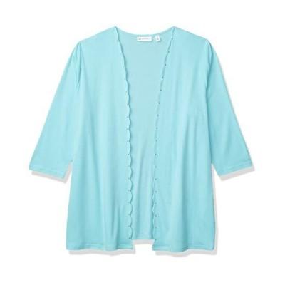Rafaella Women's Solid Scallop Edge 3/4 Sleeve Cardigan, Angel Blue, 3X Lar