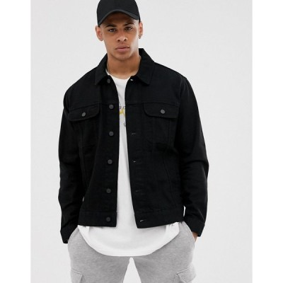 エイソス デニムジャケット メンズ ASOS DESIGN oversized denim jacket in black エイソス ASOS ブラック 黒